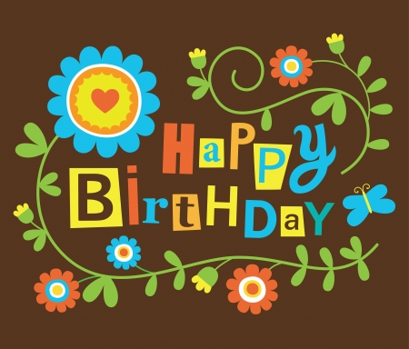 cute happy birthday card.  Vector