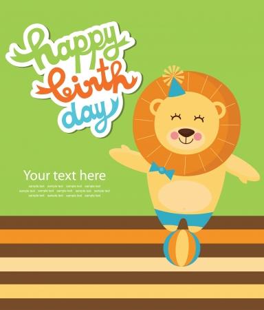 leon de dibujos animados: felices fiestas tarjeta de ilustración vectorial
