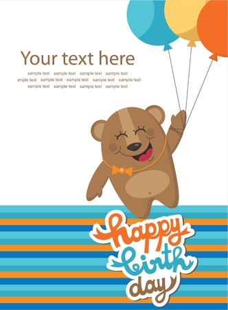 cute happy birthday card with fun bear  vector illustration Vector
