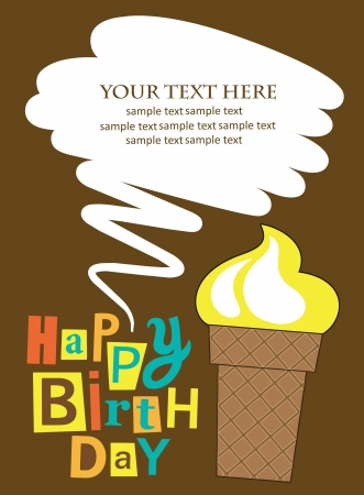 cute happy birthday card with cupcake  vector illustration Vector