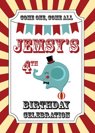 and invites: cute happy birthday card with elephant. Illustration