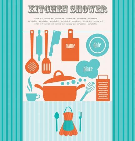 the recipe: kitchen shower  vector illustration Illustration