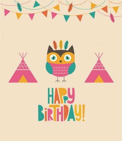 owl birthday card design.  Vector