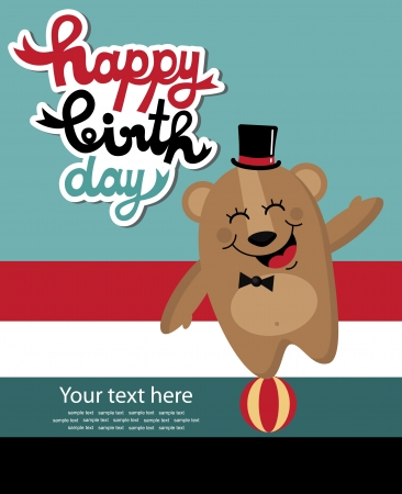 Cute Happy Birthday Card With Elephant Vector Illustration Royalty