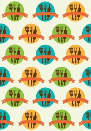 retro seamless kitchen pattern. Vector