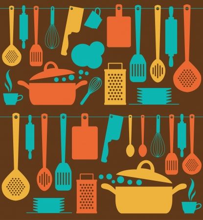 home cooking: seamless kitchen pattern.