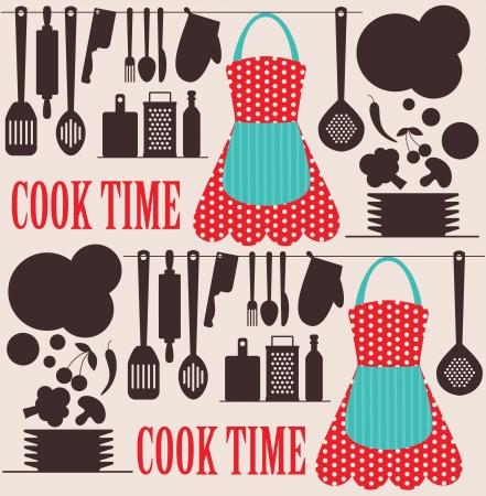 seamless kitchen pattern. vector illustration Vector