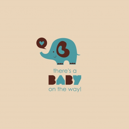theres a baby on the way card.  Vector