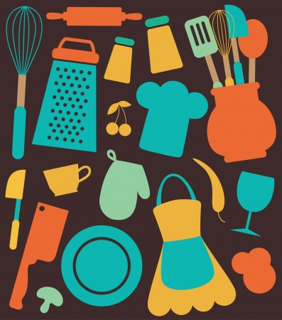kitchen illustration: seamless kitchen pattern.