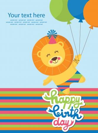 happy birthday cartoon: cute greeting card  vector illustration Illustration