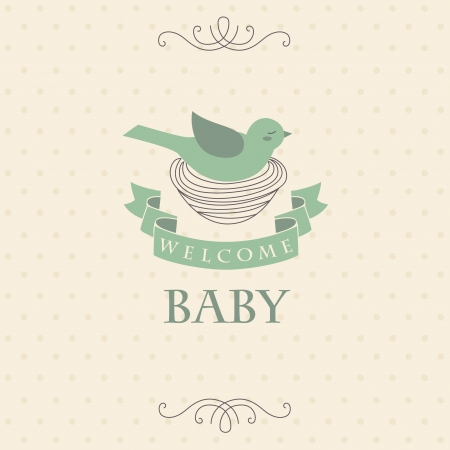 welcome baby card.  Vector