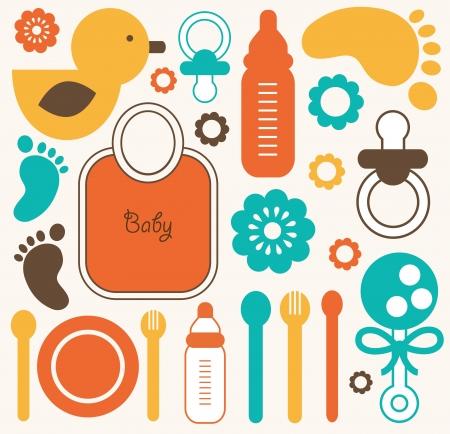 decorative accessories: baby seamless pattern.  Illustration