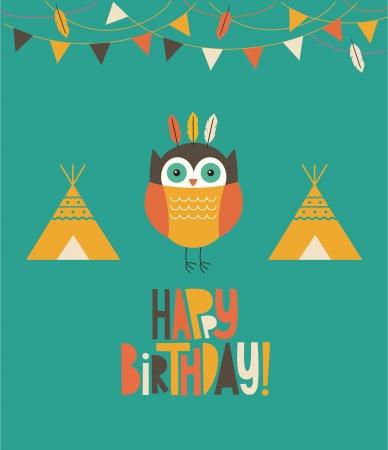 owl birthday card design.  Vector