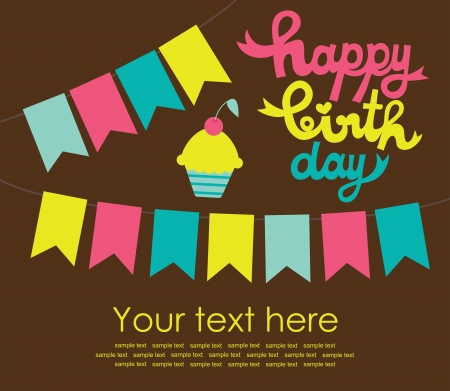 happy birthday card with fun muffin  vector illustration Vector