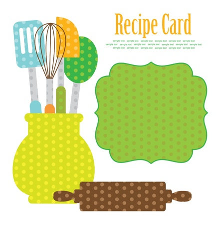 vegetable cook: cookery card  vector illustration