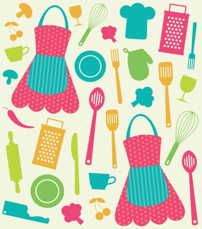 seamless kitchen pattern  vector illustration