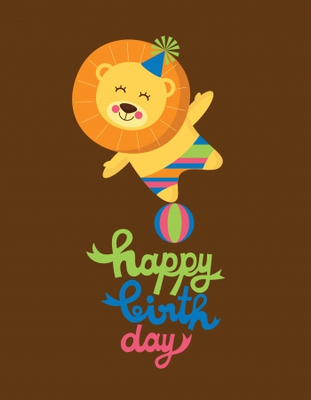 cute happy birthday card with nice lion  vector illustration Vector