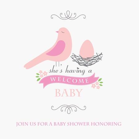 nest: welcome baby card design.  Illustration