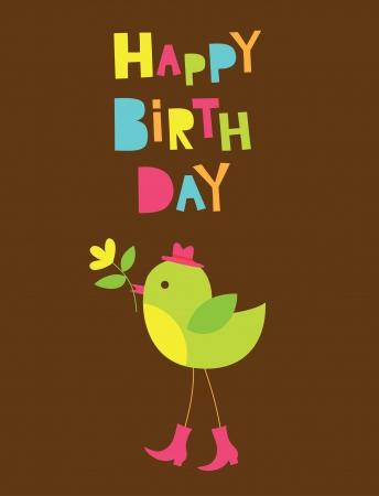 happy birthday cartoon: happy birthday card design  vector illustration