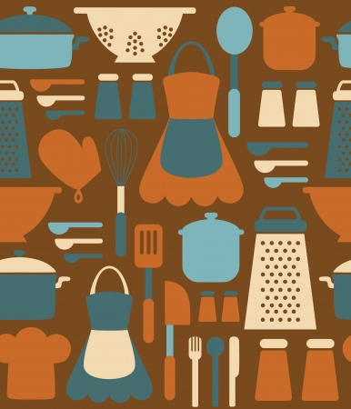 kitchen seamless pattern design. Vector