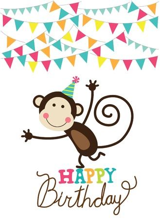 gelukkige verjaardagskaart vectorillustratie Stock Illustratie