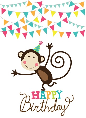 birthday invitation: happy birthday card  vector illustration
