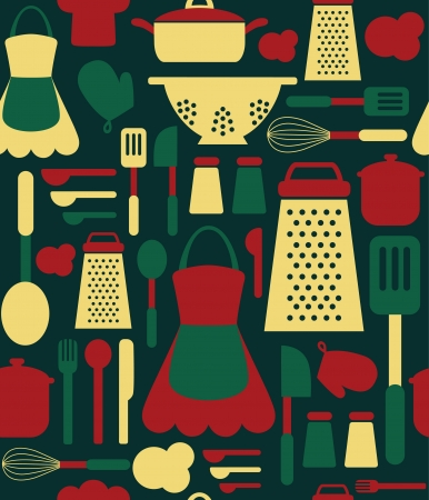 seamless kitchen pattern.  Vector