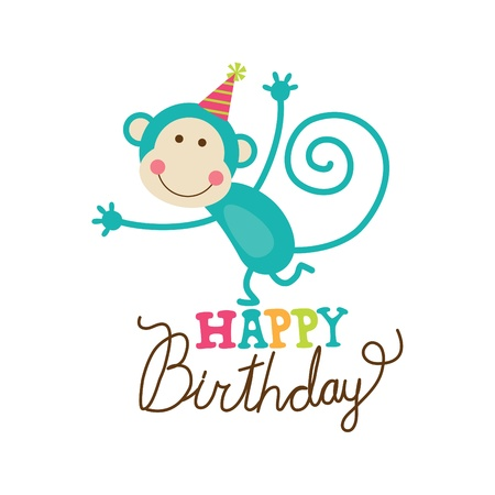 birthday cartoon: happy birthday card  vector illustration