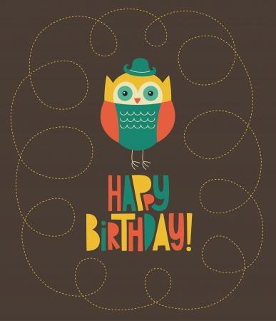 happy owl birthday card design.  Vector