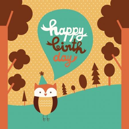 happy owl birthday card design.