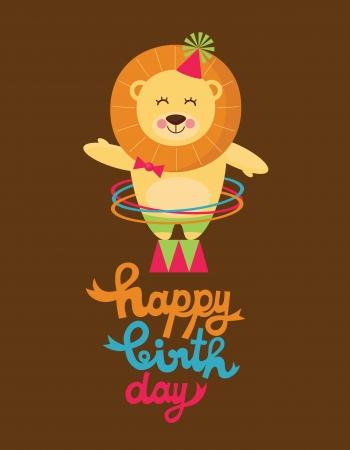 leon de dibujos animados: tarjeta de feliz cumpleaños linda con la diversión ilustración vectorial leon