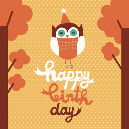 happy owl birthday card design. Vector