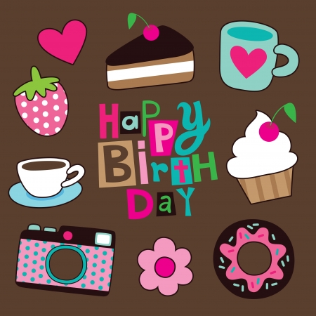 sweet happy birthday card  illustration Vector