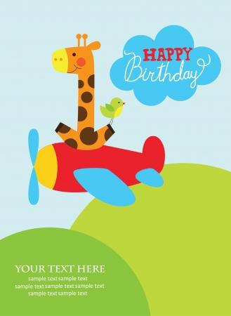 fun happy birthday card  vector illustration Illustration
