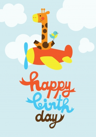 fun happy birthday card  vector illustration Vector
