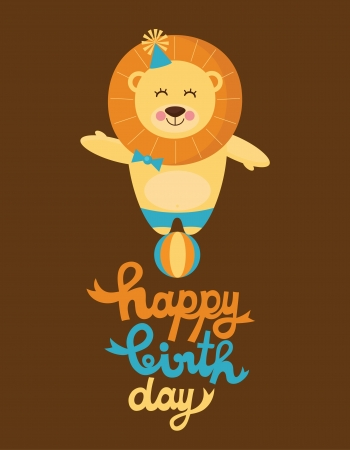 leon caricatura: tarjeta de feliz cumplea�os linda con la diversi�n ilustraci�n vectorial leon