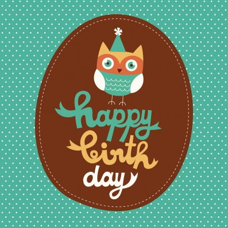 happy owl birthday card design. Иллюстрация