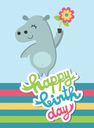 cute happy birthday card with fun hippo  vector illustration Stock Vector - 22626846