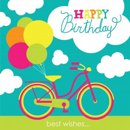 bike vector: tarjeta de felicitaci�n con lindos ilustraci�n vectorial en bicicleta