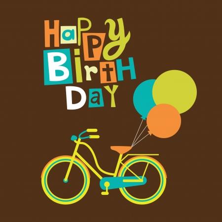 bike vector: tarjeta de felicitaci�n con la bici linda ilustraci�n vectorial Vectores