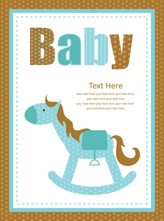 baby shower design, cute toy horse  vector illustration Vector