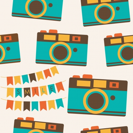 cute photography pattern design.  Vector
