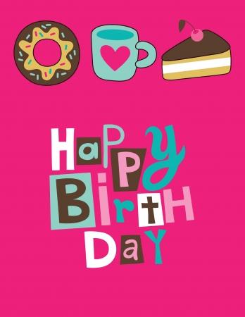 sweet happy birthday card  vector illustration Vector