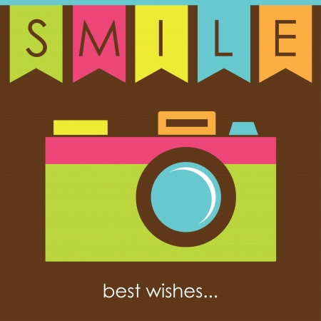 cute card with camera  illustration Vector