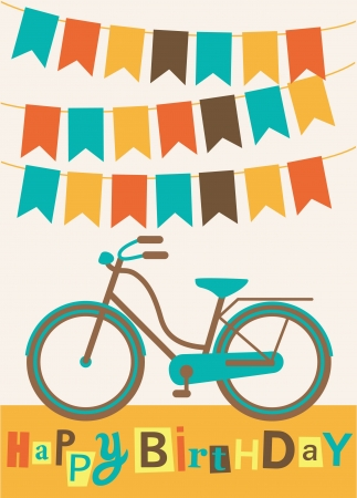 bicycle wheel: greeting card with cute bike  illustration