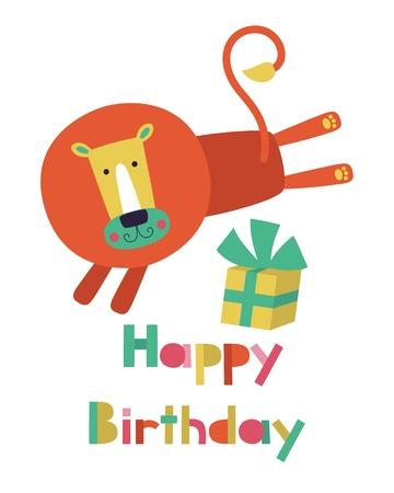 fancy sweet box: whimsical lion happy birthday card design.  Illustration