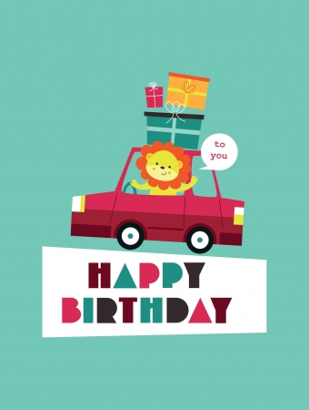 fun happy birthday card design. Vector