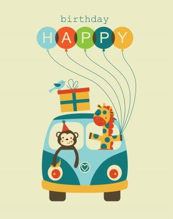 Divertimento felice disegno carta di compleanno. Archivio Fotografico - 20633126
