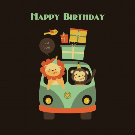 mini van: fun happy birthday card design.