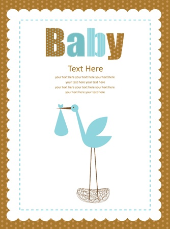 cute baby boy arrival card  illustration Stock Vector - 22574433